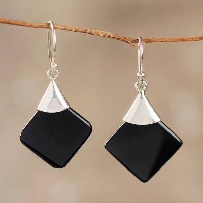 Obsidian dangle earrings, 'Synthesis' - Protection Sterling Silver Dangle Obsidian Earrings