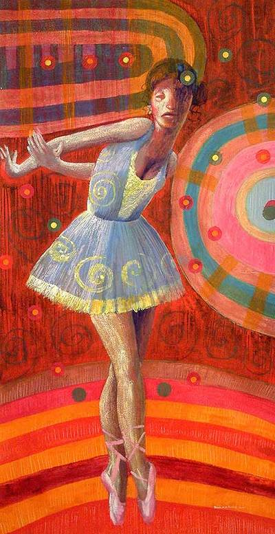 'Dancing for the World' - Original Oil Surrealist Painting