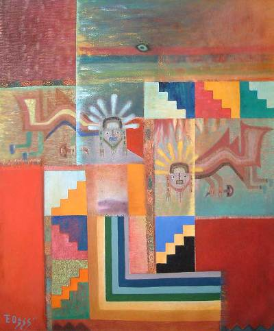'Paracas Mantle' (2006) - Peruvian Abstract Multicolor Cubist Painting (2006)