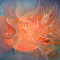 'Grand Golden Fish' (2006) - Impressionist Painting (2006)