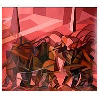 'Group of Dancers' - Acrylic Cubist Painting