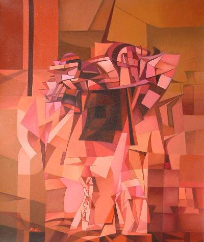 'Ancestral Warriors' - Original Cubist Painting