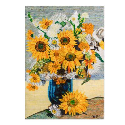 Artisan Crafted Floral Wool Tapestry Wall Hanging