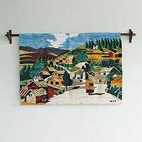 Wool tapestry, 'Trail toward Pisac' - Fair Trade Cultural Wool Tapestry Wall Hanging
