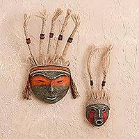 Papier mache masks, 'Inca Offering' (pair) - Artisan Crafted Archaeological Masks from Peru (Set of 2)