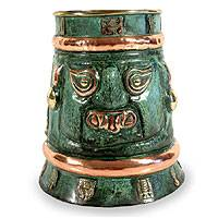 Copper and bronze vase, 'Inca Chieftain' - Copper and bronze vase
