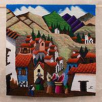 Wool tapestry, 'The Return' - Hand Crafted Cultural Wool Tapestry of the Andes