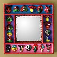 Mirror, 'Party of Masks' - Ceramic and Wood Frame Wall Mirror