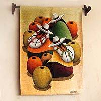 Wool tapestry, 'Market of Earthen Jars' - Handcrafted Cultural Wool Tapestry Wall Hanging