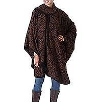 Reversible alpaca blend ruana cloak, Secret Garden