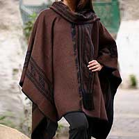 Reversible alpaca blend poncho, 'Warm Earth' (Peru)