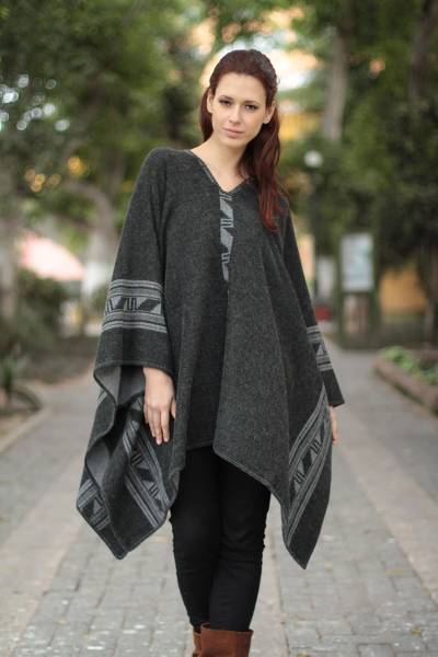 Reversible alpaca blend poncho, Gray Black Glyphs