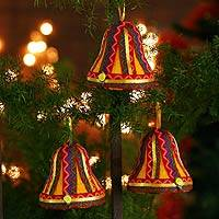 Ornaments, 'Joyful Bells' (set of 3) - Ornaments (Set of 3)