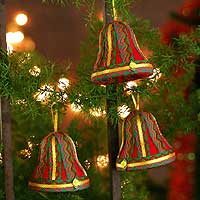 Ornaments, 'Cheerful Bells' (set of 3) - Handmade Christmas Bell Ornaments (Set of 3)