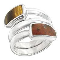 Tiger's eye and mahogany obsidian wrap ring, 'Serpent' - Tiger Eye and Obsidian Ring Peruvian Silver Jewelry