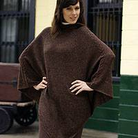 Alpaca poncho, 'Warm Earth' - Alpaca Wool Solid Hooded Poncho