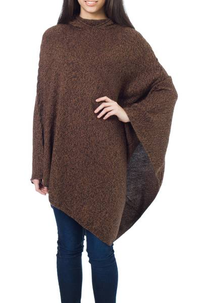 Alpaca Wool Solid Hooded Poncho