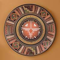 Cuzco plate, 'Cosmic Hummingbird' - Hand Crafted Cuzco Ceramic Decorative Plate