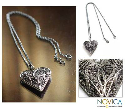Silver heart necklace, 'Heart Full of Love' - Fair Trade Heart Shaped Sterling Silver Pendant Necklace