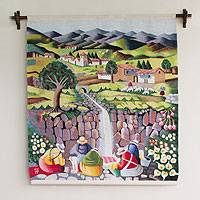 Wool tapestry, 'By the Stream' - Hand Made Cultural Wool Tapestry Wall Hanging