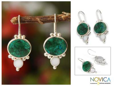 Chrysocolla drop earrings, 'Snowy Lake' - Artisan Crafted Sterling Silver Drop Chrysocolla Earrings