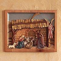 Cedar relief panel, 'Mystery of Christ's Birth'