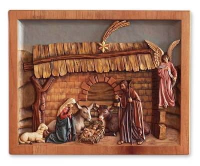 Cedar relief panel, 'Mystery of Christ's Birth' - Cedar relief panel
