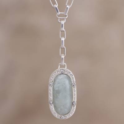 Opal Y-necklace, 'Distance' - Modern Fine Silver Y-Necklace with Natural Opal and Zirconia