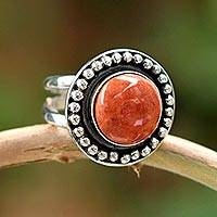 Jasper cocktail ring, 'Sun Enigma' - Hand Made Sterling Silver Single Stone Jasper Ring