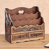 Leather letter holder, 'Songbirds' - Colonial Leather and Wood Letter Holder Office Accessory