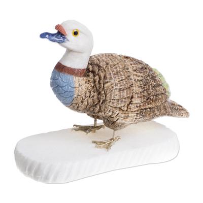 Unique Gemstone Hand Carved Duck Sculpture from Peru