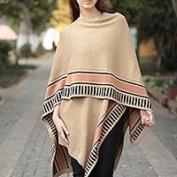 Alpaca blend ruana cloak, 'Desert Sand' - Alpaca Blend Ruana Cloak