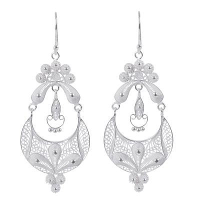 Floral Fine Silver Filigree Earrings