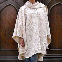 Alpaca blend ruana cape, 'Snow Flowers' - Artisan Crafted Women's Alpaca Wool Ruana Cape