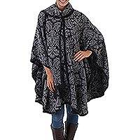Reversible alpaca blend ruana cloak, 'Night Shadows' - Handcrafted Alpaca Wool Patterned Grey Poncho