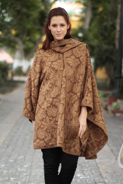 Alpaca blend ruana cloak, 'Desert Bloom' - Artisan Crafted Alpaca Blend Poncho