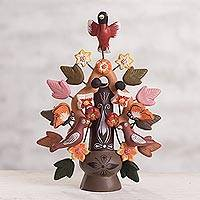 Ceramic candleholder, 'Tree of Life' - Ceramic candleholder