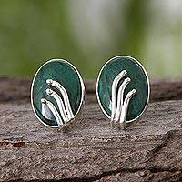 Chrysocolla button earrings, Friendship