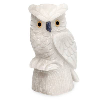 White Onyx Owl Bird Sculpture