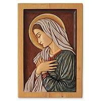 Cedar relief panel, 'Virgin Mary' - Religious Cedar Wood Relief Panel