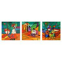 'Story of the Fisherwomen' (triptych) - Cubist Oil Painting (Triptych)