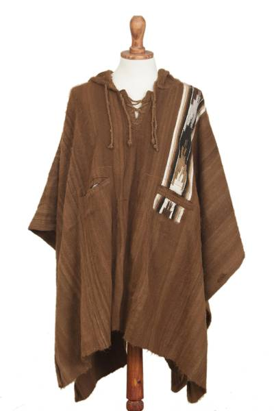 Hand Crafted Alpaca Wool Patterned Poncho from Peru