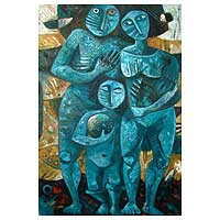 Family (2006) - Cubist Oil Painting