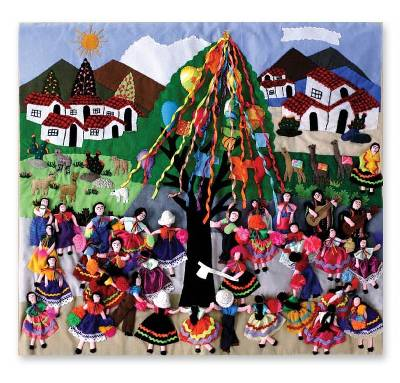 Applique wall hanging, 'Festival' - Folk Art Cotton Applique Wall Hanging