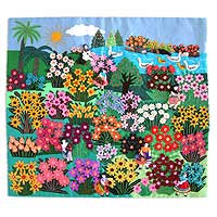 Applique wall hanging, 'World of Nature' - Folk Art Applique Wall Hanging