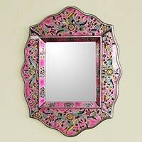Mirror, 'Pink Floral' - Reverse Painted Glass Wall Decor Mirror