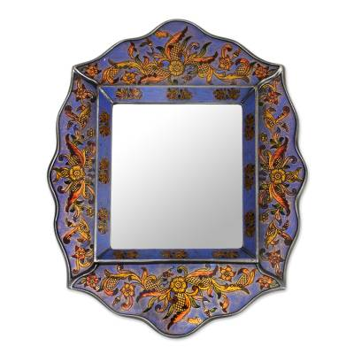 Floral Blue Mirror Charming Artisan Reverse Painted Glass