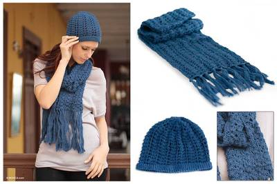 100% alpaca scarf and hat, 'Periwinkle Blue' - Hand Made Alpaca Wool Scarf and Hat Winter Set