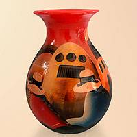 Ceramic vase, 'The Monastery' - Hand Made Cuzco Colorful Ceramic Vase