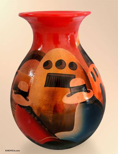 Hand Made Cuzco Colorful Ceramic Vase
